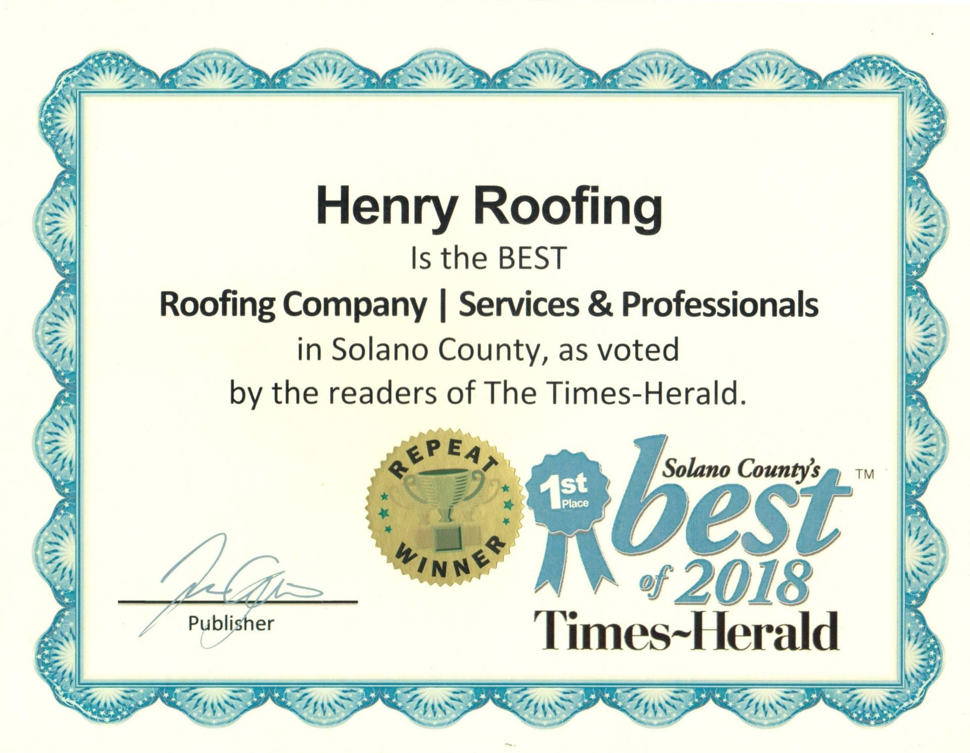 Henry Roofing, Inc.